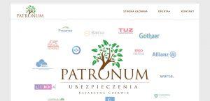 Strona internetowa firmy ubezpieczeniowej Patronum
